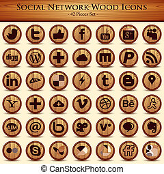 Social network icons Wood Texture Buttons - Social network...