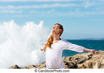 saudável, estilo vida, mar