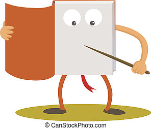 Book cartoon character - A book show something on his body