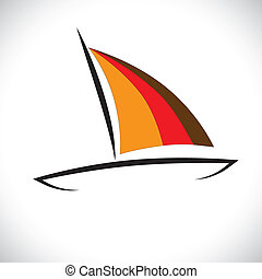 Colorful boat or canoe icon sailing in sea- vector graphic...