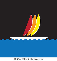 Colorful sail-boat or canoe icon moving in sea- vector...