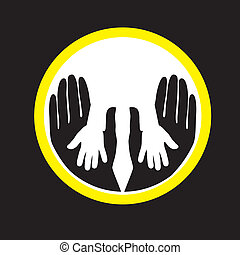Mother or father child's hands together- concept vector...