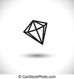 Black and white outline of a diamond stone- vector graphic...