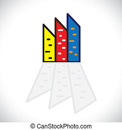 Colorful commercial buildings,offices, apartments- vector...
