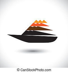 Colorful sailboat or yatch icon moving fast- vector graphic....