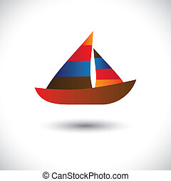 Colorful sailboat or yatch icon- vector graphic