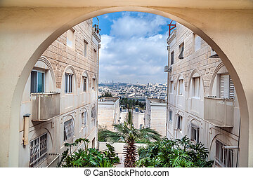 Residential district in Jerusalem - Landscape of Jerusalem,...