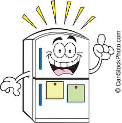 Cartoon refrigerator with an idea - Cartoon illustration of...