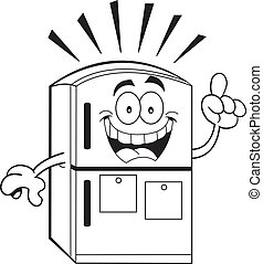 Cartoon refrigerator with an idea