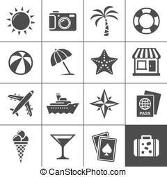 Vacation and travel icons - Vacation and travel icon set...