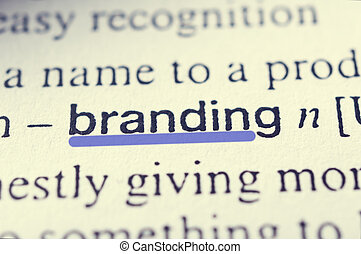 Branding concept in word tag Selective focus in the middle...