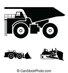 Symbol and a bulldozer and dump truck