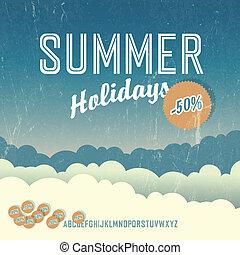 Summer travel retro poster. Vector