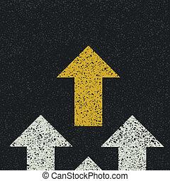 Arrows on asphalt road. Teamwork concept. Vector