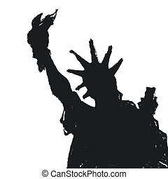 Statue Of Liberty Silhouette, Vector