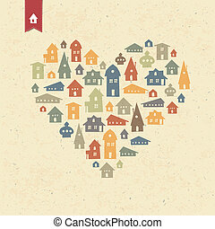 Heart shaped many houses icons. Realty concept. Vector,...
