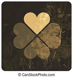 Grunge lucky clover leaf Vector