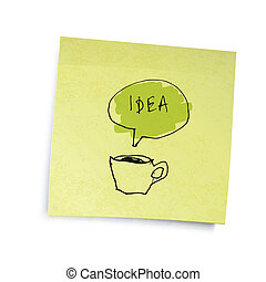 """Yellow sticky notes with coffee cup """"idea"""" illustration. Vector illustration, EPS10."""