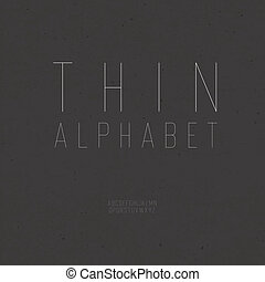 Thin vintage alphabet (uppercase). With textured background,...