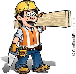 Constraction Worker -- Carpenter - Cartoon illustration of a...