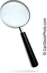 Magnifying glass vector illustration isolated on white.