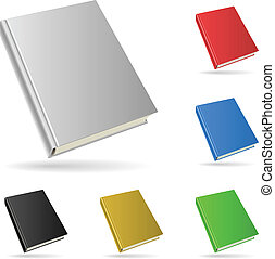 Hardcover book isolated on white background with color...