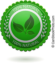 100 natural green label isolated on white EPS10 file