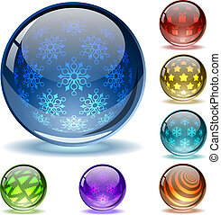 Glossy colorful abstract Christmas globes with different...