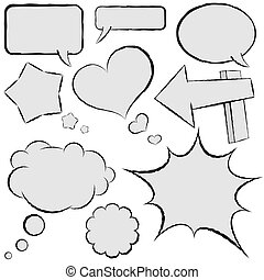 Collection of comic speech bubbles in hand drawn style.