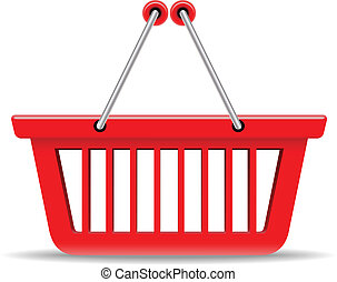 Empty red shopping basket vector icon isolated on white...
