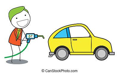 人, 使用, 气体, 油, 汽車