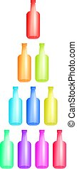 colourful bottles - Stack of colourful bottles isolated on...