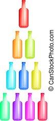 coloré, bouteilles