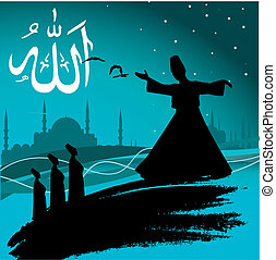 whirling dervishes - vector illustration of the whirling...