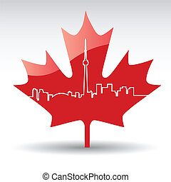 Toronto - vector cityscape of Toronto on a maple leaf