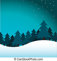 pine trees - vector illustration of pine trees