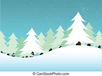 winter landscape - vector illustration of a winter landscape