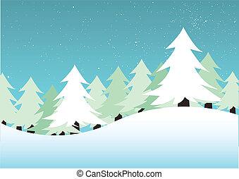 winter landscape - vector illustration of a winter landscape