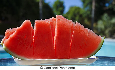 Watermelon by the swimmimg pool - Few peaces of watermelon...