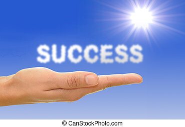 Success concept - Text clouds spell success with blue sky...