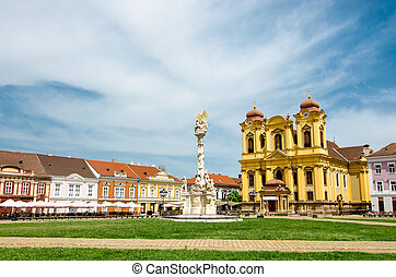 Unirii Square in Timisoara, Romania with Roman Catholic...