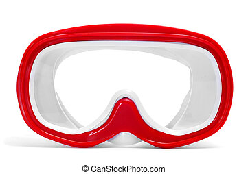 diving mask - closeup of a red and white diving mask on a...