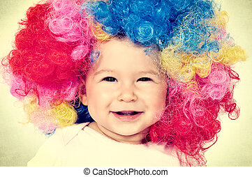 Vintage baby - Baby with clown wig in vintage technique