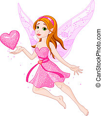 Love_fairy - Beautiful fairy holding heart. Vector...