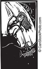 Spearfishing - Woodcut style image of a man spearfishing...