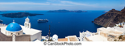 Blue Dome Church Santorini Greece - Blue Dome Church at...