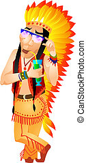 Aborigine - Cartoon Character Aborigine Isolated on White...