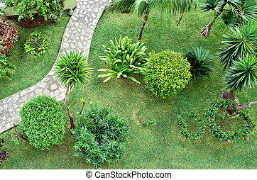 Formal Garden - Beautiful Garden. Green Lawn in Landscaped...