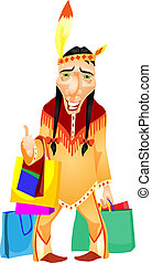 Aborigine - Cartoon Character Aborigine Isolated on White...