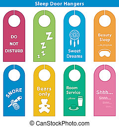 Sleep Door Hangers, Brights - Door hangers for sleepy time,...
